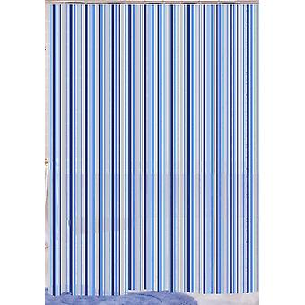 Blue Linear Stripe Peva Shower Curtain 180 x 180cm