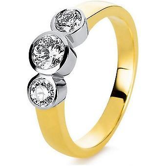 Diamond ring - 18K 750/- Yellow gold / white gold - 0.68 ct.