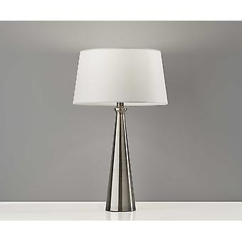 Set of 2 Contemporary Tapered Brushed Steel Metal Table Lamps