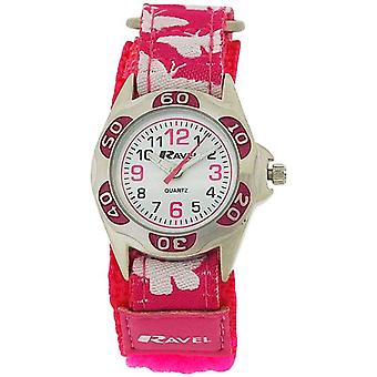 Ravel Girls White Dial Pink / White Butterfly Easy Fasten Strap Watch R1507.50