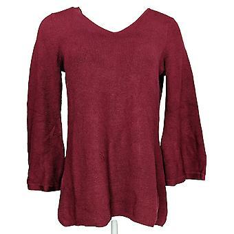 H de Halston Women's Suéter Bell Manga Pullover Borgoña Rojo A311493