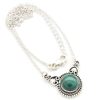 Malachite Necklace 925 Silver Sterling Silver Chain Necklace Green (MCO 10-10)