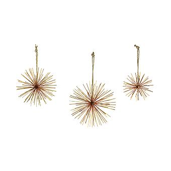 Brass Finish Metal Bursting Star Decorative Hanging Ornaments Set of 3 Rope Hangers