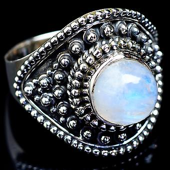 Rainbow Moonstone Ring Size 9 (925 Sterling Silver)  - Handmade Boho Vintage Jewelry RING4798