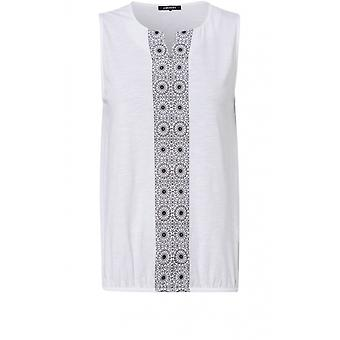 Olsen White Patterned Front Design Top