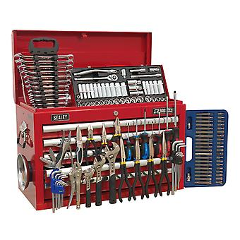 Sealey Ap33059Combo Topchest 5 Drawer Ball Bearing Runners Red & 138Pc Tool Kit
