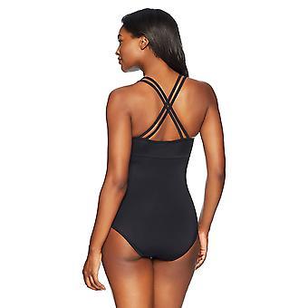Coastal Blue Women's One Piece Swimsuit, Ebony, L, Black, Size Large