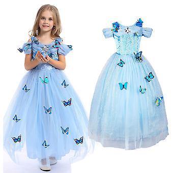 Piger Askepot Butterfly Princess Cosplay Party Kostume Kjole