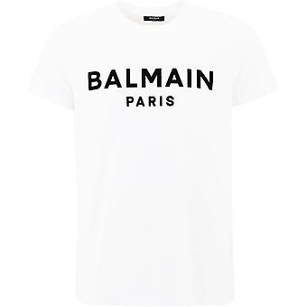 Balmain Uh11601i398gab Mænd's White Cotton T-shirt