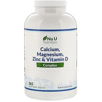 Nu U Nutrition, Calcium, Magnesium, Zinc & Vitamin D Complex, 365 Vegetarian Tab
