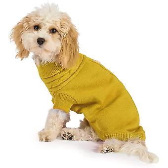 Ancol Muddy Paws Cable Knit Jumper Mustard (30cm) - Small