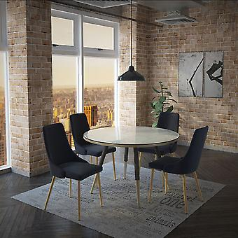 Axel/Asher 5Pc Dining Set - White Table/Black Chair