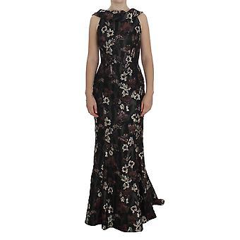 Dolce & Gabbana fekete virágos jacquard köpeny ruha NOC10188-1