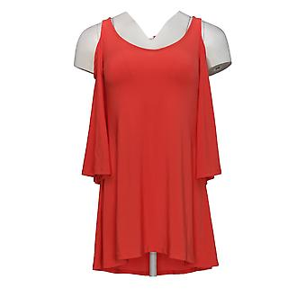 Attitudes van Renee Women's Top (XXS) Cold-Shoulder Bell Slv Red A288803