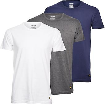 Lyle & Scott 3-Pack Camisetas de salón de cuello redondo, blanco/gris/azul marino