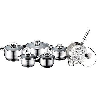 Pot, Frying and Saucepan Set, 6 Pans - Silver