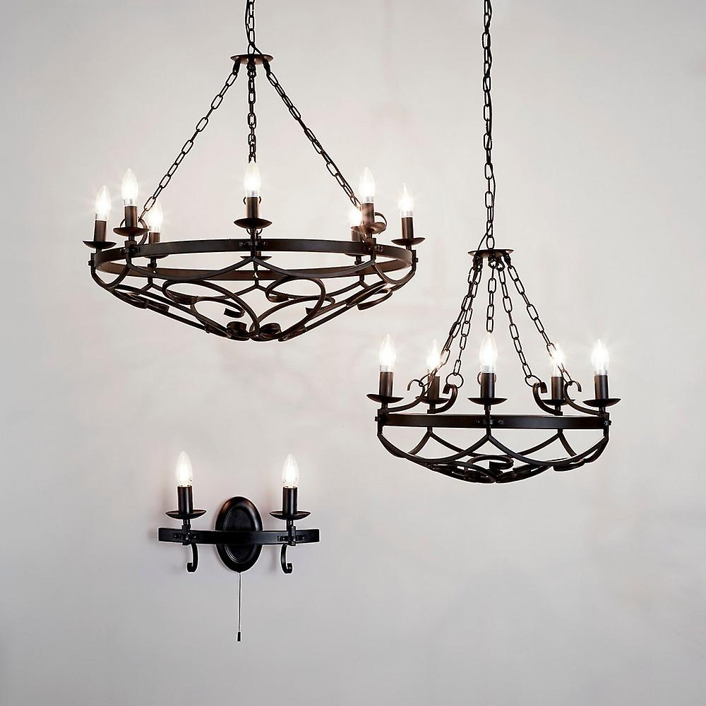 8 Light Cylindrical Candle Chain Ceiling Pendant - Black