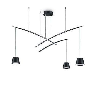 Ideale Lux Fisch - LED 3 Licht Cluster Deckenanhänger schwarz