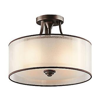 elstead lacey - 3 lys liten semi innfeldt taklampe oppdrag bronse, E27