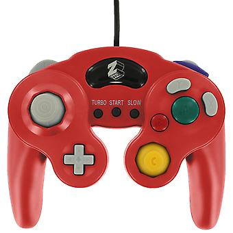 Wired controller for nintendo gamecube gc vibration gamepad with turbo function in mario style - red