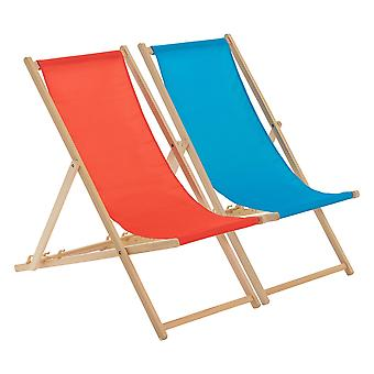 Traditional Adjustable Beach Garden Deck Chairs - Red / Light Blue