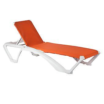 Resol 2 Piece Marina Garden Sun Lounger Bed Set - Adjustable Reclining Outdoor Patio Canvas Furniture - Orange