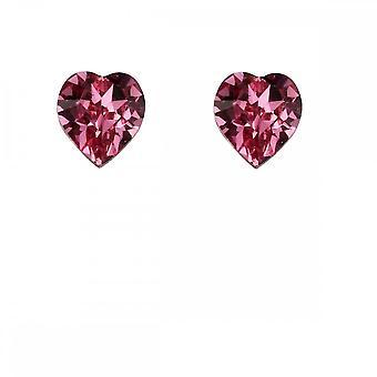 Inizi Sterling Argento Rosa Cristallo Cuore Orecchini A2038P