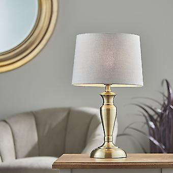 Endon Lighting Oslo & Mia - Table Lamp Antique Brass Plate & Charcoal Linho 1 Light IP20 - E27