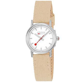 Mondaine Classic Quartz White Dial Beige Textile Strap Ladies Watch A658.30323.17SBK