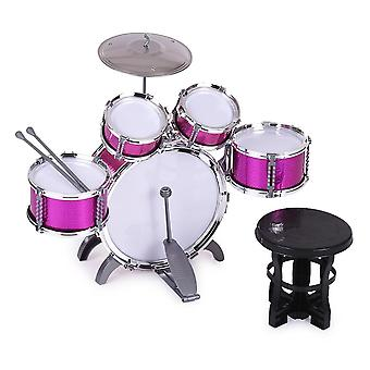 Children Drum Set, Jazz Musical Instrument 5 Drums + 1small Cymbal Stool Drum