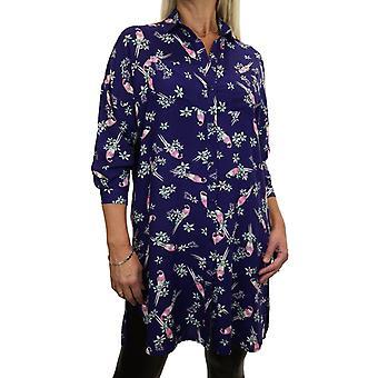 Women's Casual loose Button Down Shirt Dress Ladies 3/4 Length Sleeve Collar Oriental Bird Print Long Blouse Top 8-12