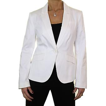 Women's Smart Fully Lined Formal Blazer Ladies Tailored Cotton Sateen Long Sleeve Jacket Off White 10-12