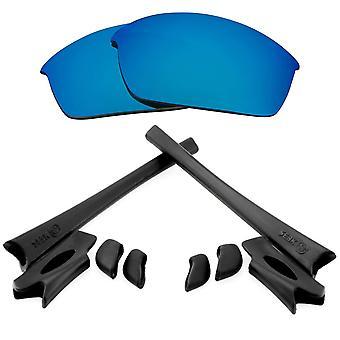 Polariserade ersättningslinser Kit för Oakley Flak Jacket Blå Spegel Svart Anti-Scratch Anti-Glare UV400 av SeekOptics