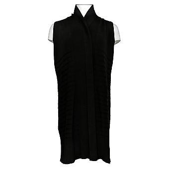Isaac Mizrahi Live! Women's Top Shawl Collar Long Vest Black A384083