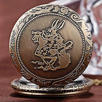 DEFFRUN Fashion Rabbit Pattern Necklace Chain Quartz Pocket Watch