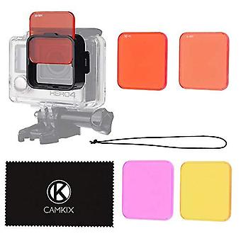 Camkix diving lens filter kit compatible with gopro hero 4 black, silver hero+ hero+, hero and 3+ -