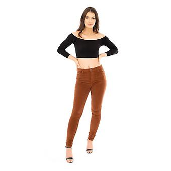 High Waist Cords Stretch Corduroy Velour Trousers
