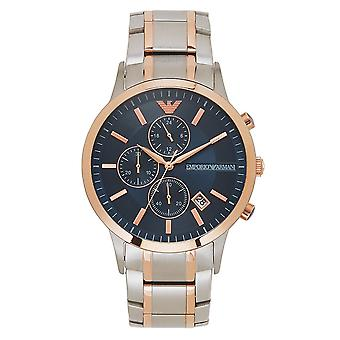 Armani Ar80025 Silver, Rose Gold & Blue Stainless Steel Chronograph Men's Watch