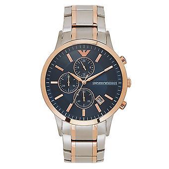 ארמני Ar80025 כסף, זהב ורד וכחול כרונוגרף גברים & שעון