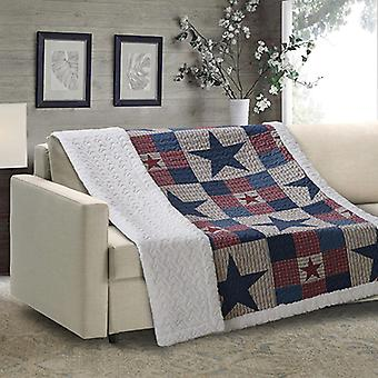 Spura Home Mountain Cabin Gray Patchwork Quilted Sherpa Throw
