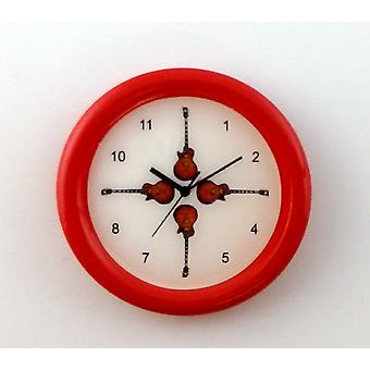 Dolls House Guitar Wall Clock Round Red Frame Miniature 1:12 Accessory