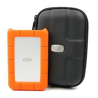 Duragadget black rigid protective pouch - compatible with lacie rugged safe| porsche design p9220| p