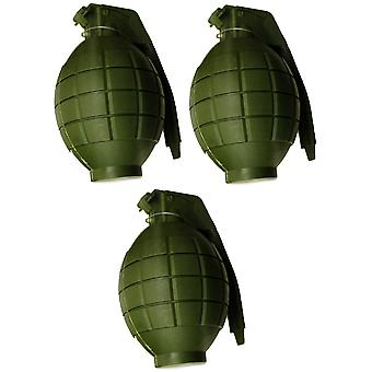 Pack of 3 kids army toy green hand grenades - with flashing light & sound - role play