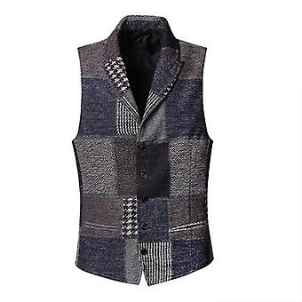 Spring Stitching Retro Patch Plaid Woolen Casual Slim Waistcoat, Wedding Style