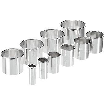Sada 10 vnořených řezových řezačů s hladkým kulatým průměrem od 1,5 do 7 cm v nerezavějící oceli