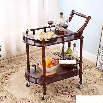 Double-layer Movable Tea Tables Dining Car And  Trolley Solid Wood Coffee