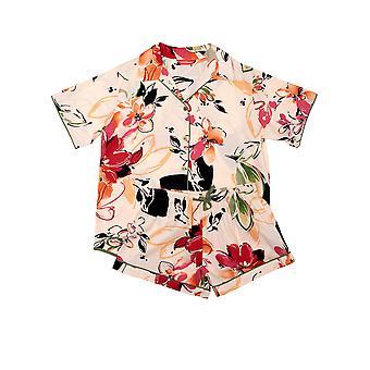 Minijammies Natalie 5697 Girl's Peach Floral Cotton Pyjama Set