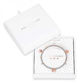 Joma Korut Life's Charm Hyvää syntymäpäivää Hopea Ruusu Kulta Charm 17,5cm Stretch Rannekoru 3895
