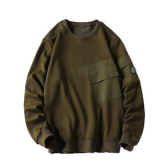 YANGFAN Men's Solid Color Round Neck Sweater