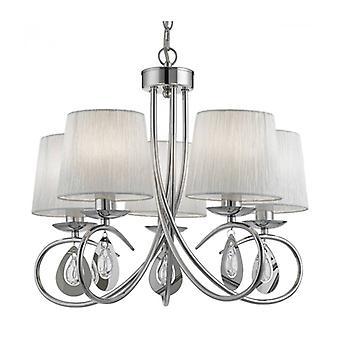 Lámpara Colgante Angelique, En Cromo Con 5 Tonos Blancos